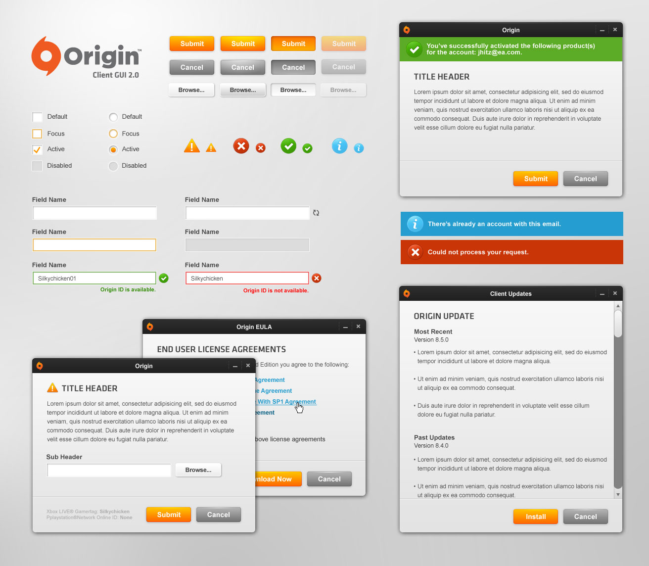Origin GUI Elements