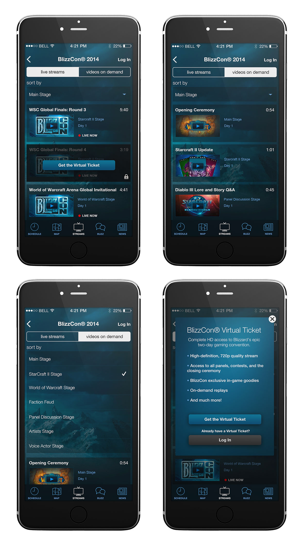 BlizzCon 2014 Live Streams & Videos Mobile Section